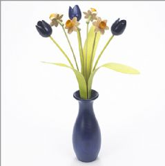 4 natural Daffodils, 3 blue Tulips with 3 green leaves with blue 'classic' vase